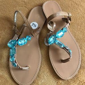 Turquoise jeweled Sandals